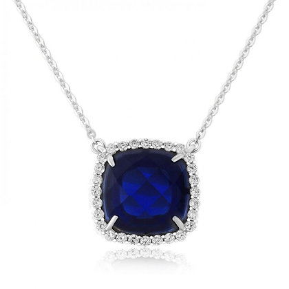 Waterford White Pendant with Created Sapphire Cushion