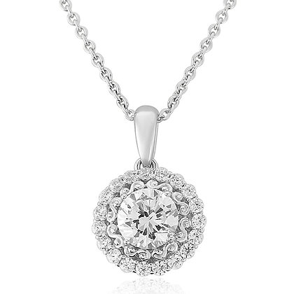 Waterford White Silver Circle Cubic Zirconia Pendant