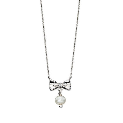 D for Diamond Bow Necklace with Pearl