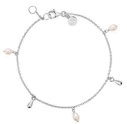 Claudia Bradby Legertha White Pearl Silver Drop Bracelet