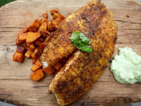 Blackened Tilapia over Sweet Potato Hash