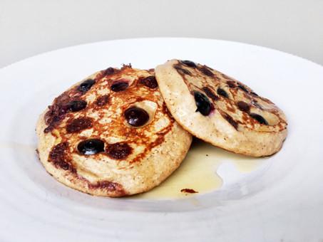 Healthy Banana Blueberry Pancakes