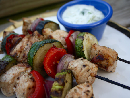 Greek Kebobs with dairy free Tzatziki Sauce