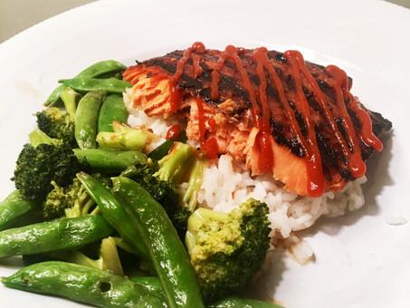 Spicy Teriyaki Salmon over Veggies