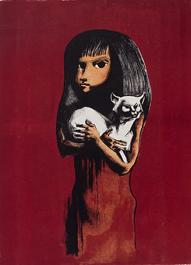 girl with a cat (litho) 1949.jpg