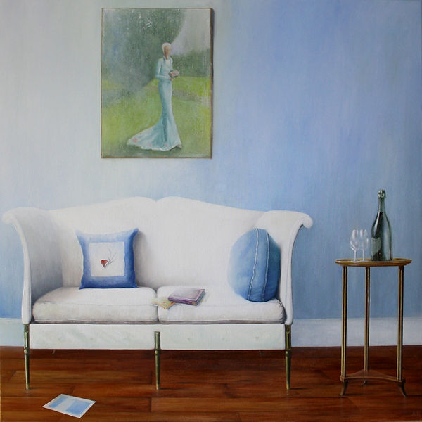 White Sofa with  a bottle of 1991 Dom Pe