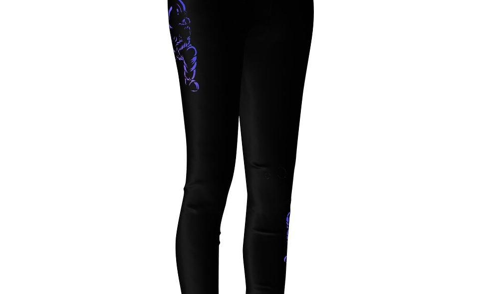 Women's Cut & Sew Casual Leggings Astronaut purple logo