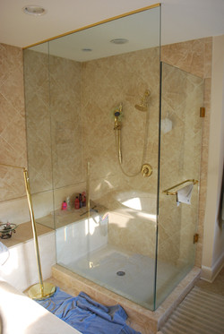 Marble shower with glass