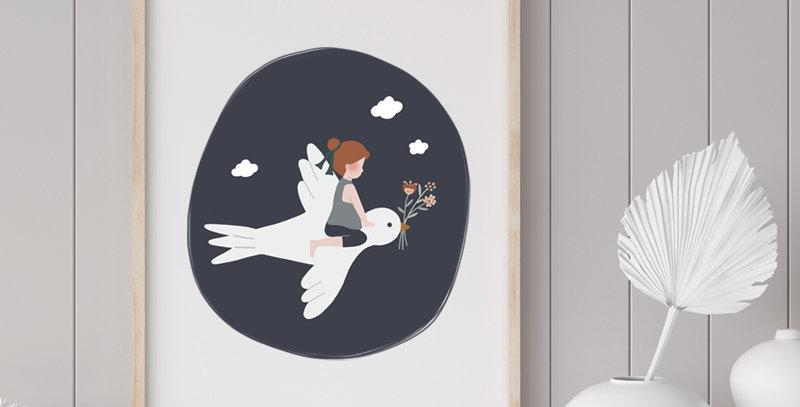Affiche - Poster - L'enfant et l'hirondelle - bleu marine