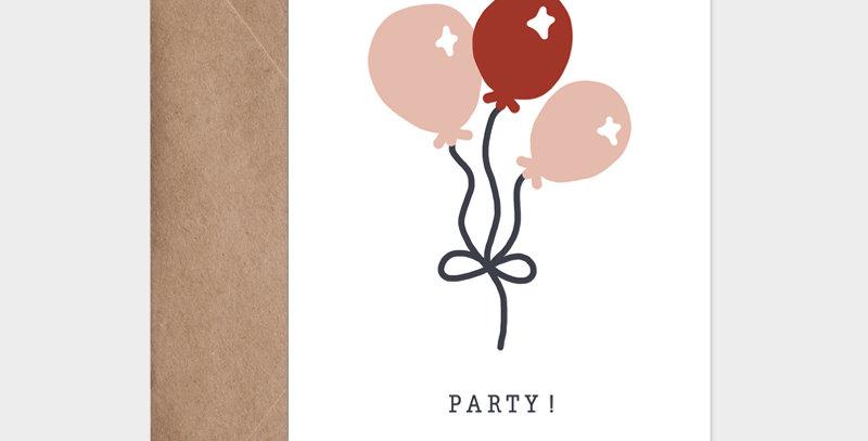 Carte postale-Posta card-ballons pour fêter un anniversaire-birthday party-création-Illustration festive-Lyon-France