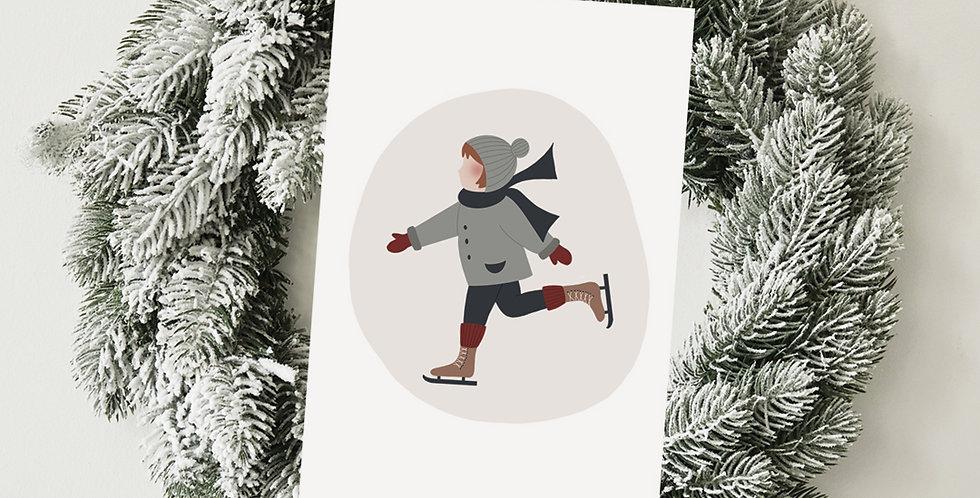 Carte postale - Post card - Patiner sur la glace