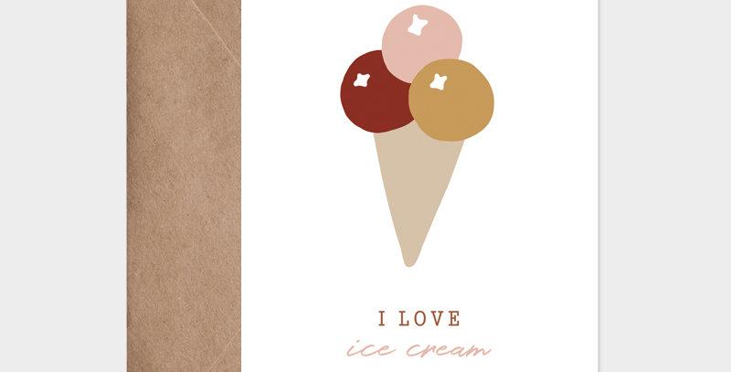 Carte postale - Post card - 3 boules de glace - illustration estivale pour les vacances - création fruitée - Lyon - France