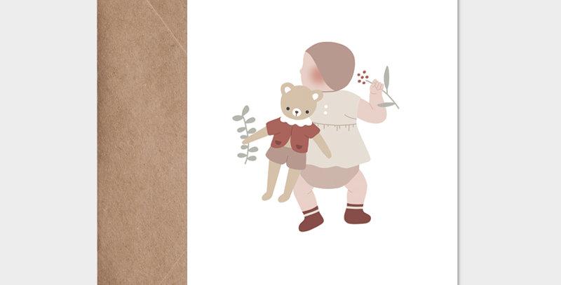 Carte postale - Post card - Bébé et son doudou fille