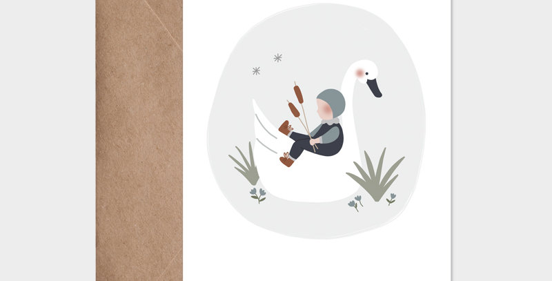 Carte postale - Postcard - L'enfant et le cygne bleu / R