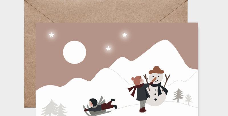 Carte postale - Postcard - Jouer dans la neige  / R