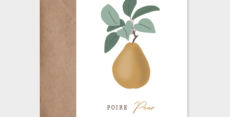 Carte postale - Post card - fruit de saison Poire-Pear