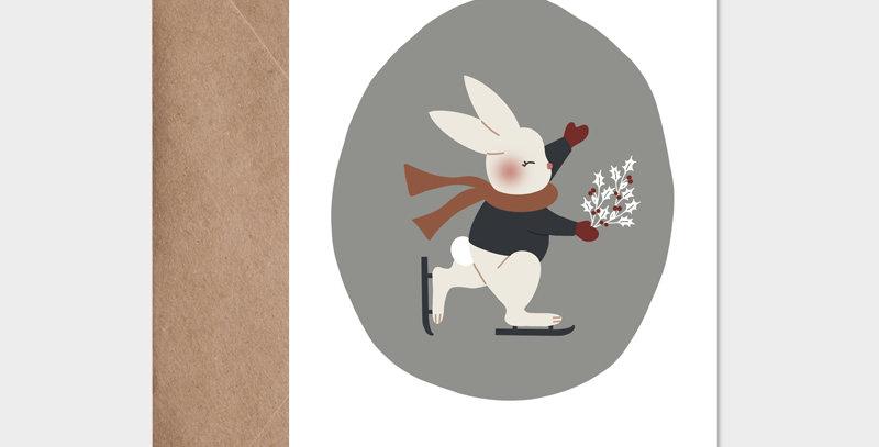 Carte postale - Postcard - Le lapin patineur  / R