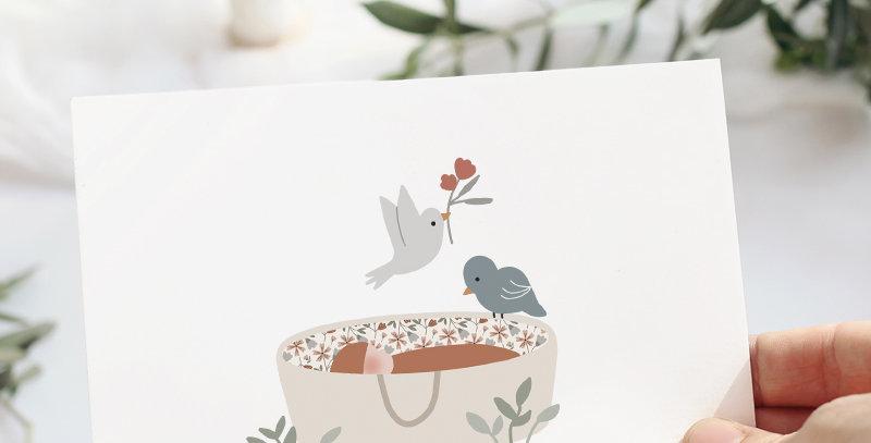 Carte postale - Post card - Sur mon berceau Bleu