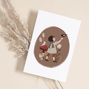 SI----Automne-boheme---157x109---illustration-automnale-création-française-bois-champignon