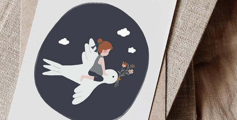 Carte postale - Post card - L'enfant et l'hirondelle - bleu marine