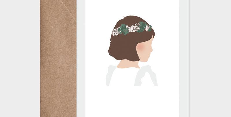 Carte postale - Postcard - Petite brune cérémonie / R