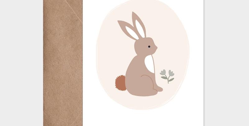 Carte postale - Postcard - Lapin de printemps rose / R