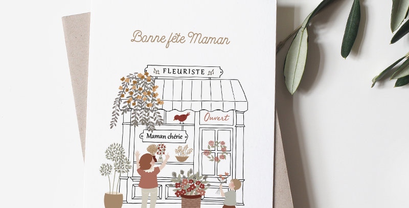 Carte postale - Post card - Maman Fleuriste