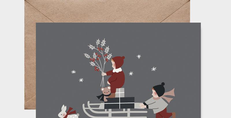 Carte postale - Post card - La luge de Noël