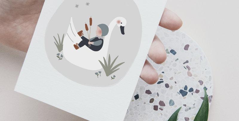 Carte postale - Post card - L'enfant et le cygne - bleu marine