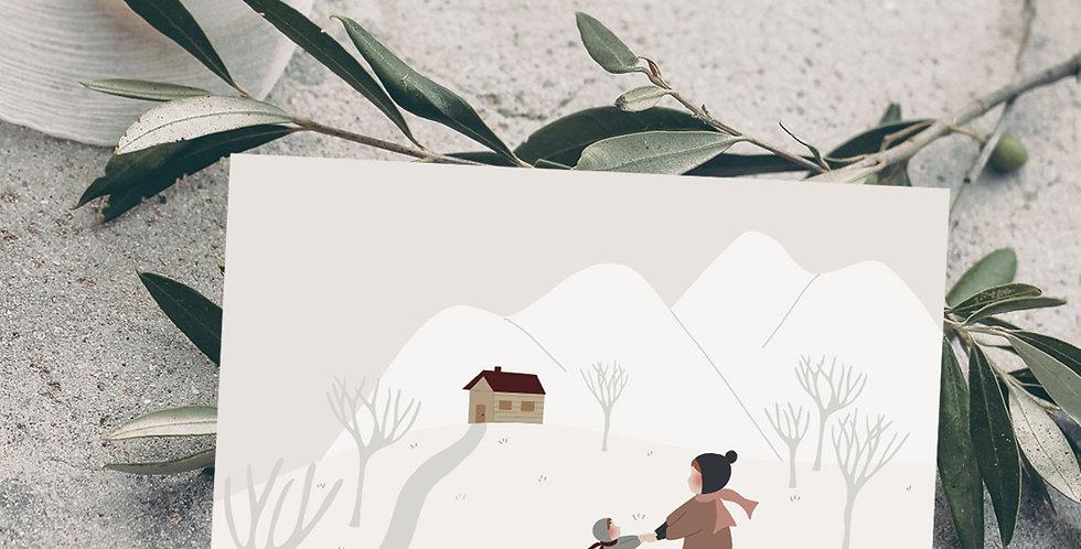 Carte postale - Post card - Ensemble à la montagne
