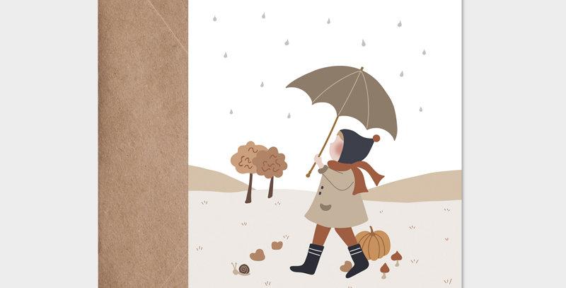 Carte postale - Postcard - Sous mon parapluie / R