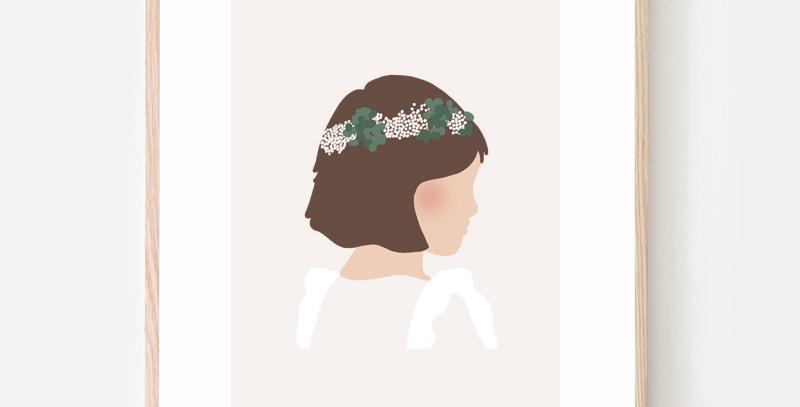 affiche poster petite fille brune élégante cérémonie