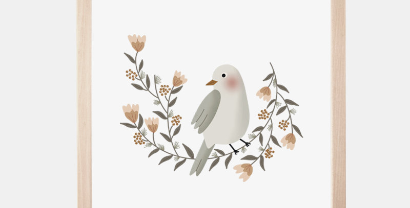 Affiche 20 x 20 cm - Poster - La couronne de l'oiseau / R