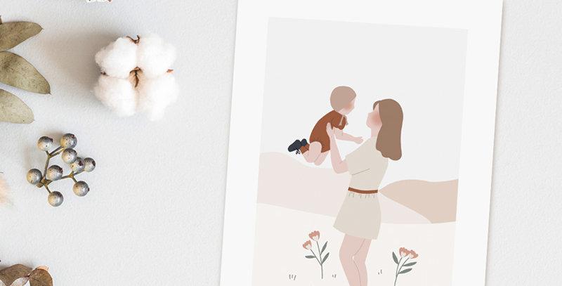 Carte postale - Post card - La danse mère-enfant