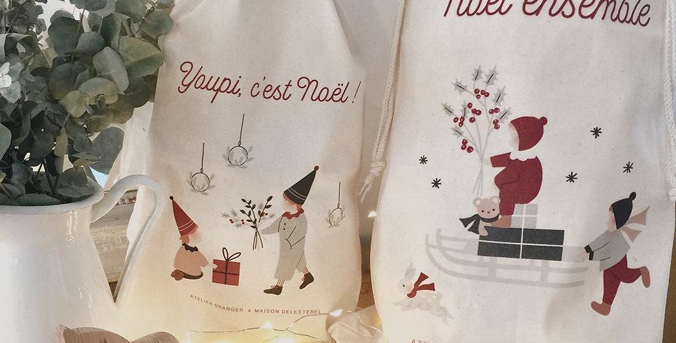 Lot de 2 sacs pochons - La luge de Noël et Les frères lutins