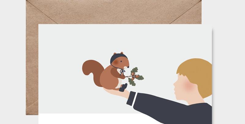 Carte postale - Post card - L'écureuil et l'enfant