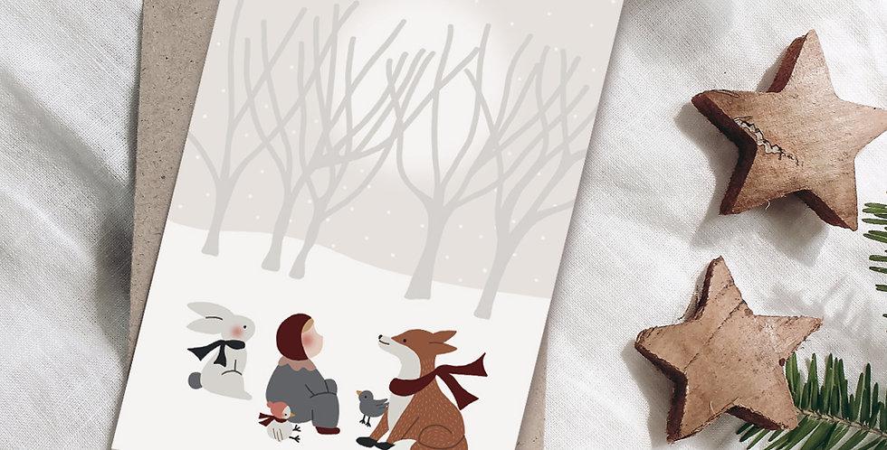 Carte postale - Post card - Tombe la neige
