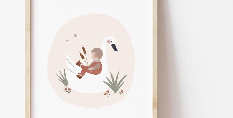 Affiche - Poster - L'enfant et le cygne - rose