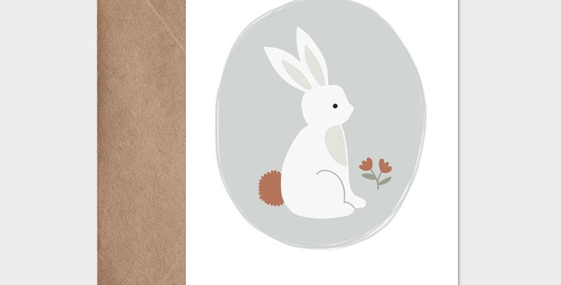 Carte postale - Post card - Lapin de printemps bleu