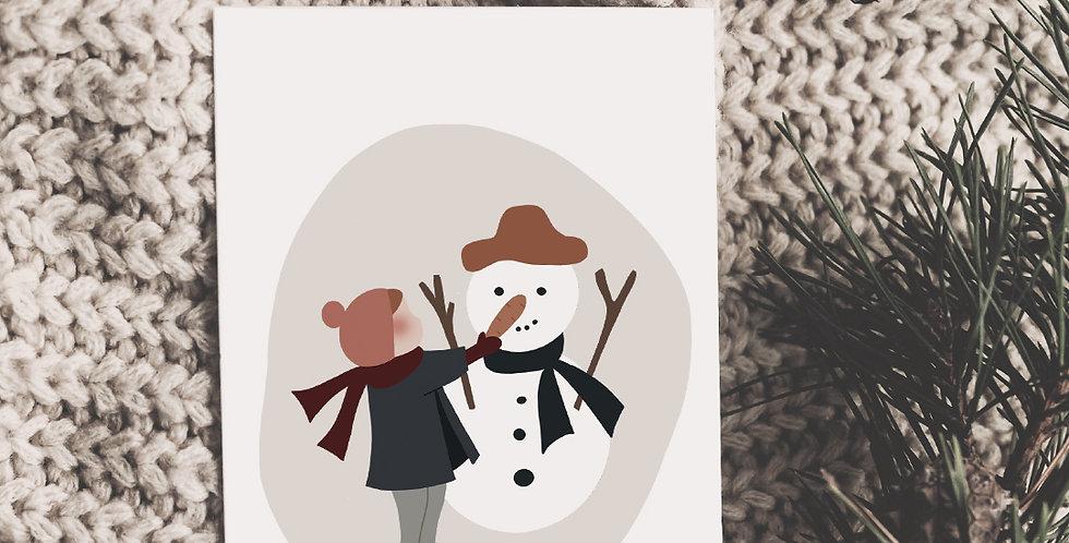 Carte postale - Post card - Mon joli bonhomme de neige