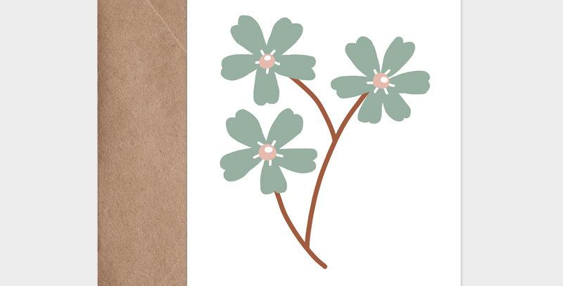 Carte postale - Post card - Illustration petite fleur chic vintage et scandinave aux tons vert et camel