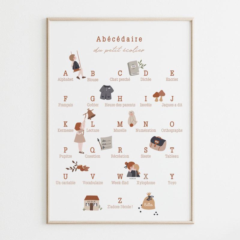 Affiche A3 Poster Abecedaire Du Petit Ecolier Atelier Oranger