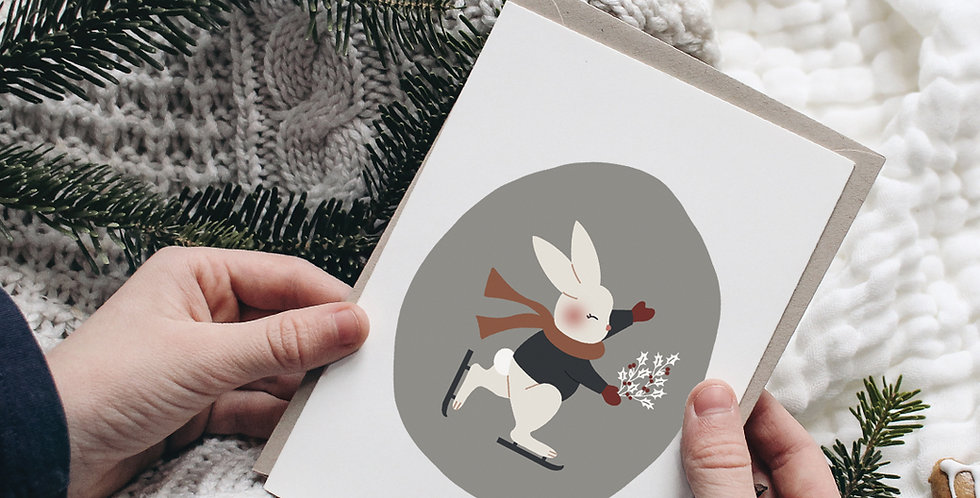 Carte postale - Post card - Le lapin patineur