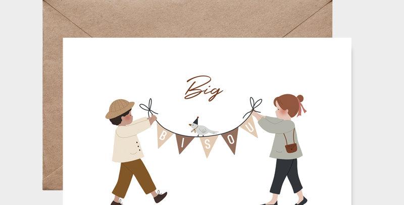 Carte postale - Post card - Banderole Big bisou
