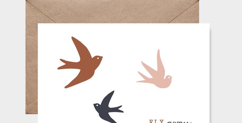 Carte postale - Post card - hirondelles de printemps - illustration pour décorer la maison et chambre d'enfant - Lyon, France