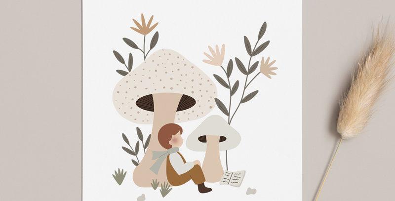 Carte postale - Post card - Flâner sous les champignons