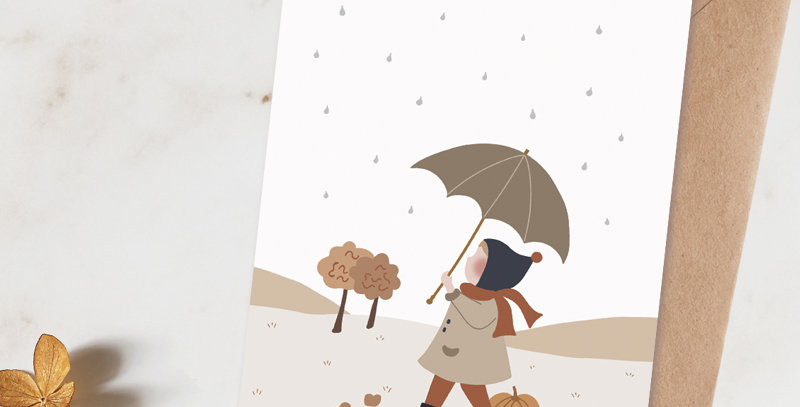 Carte postale - Post card - Sous mon parapluie