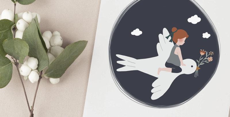Faire-part de naissance - mixte - L'enfant et l'hirondelle