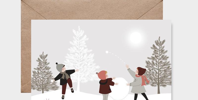 Carte postale - Postcard - Bataille de boules de neige / R