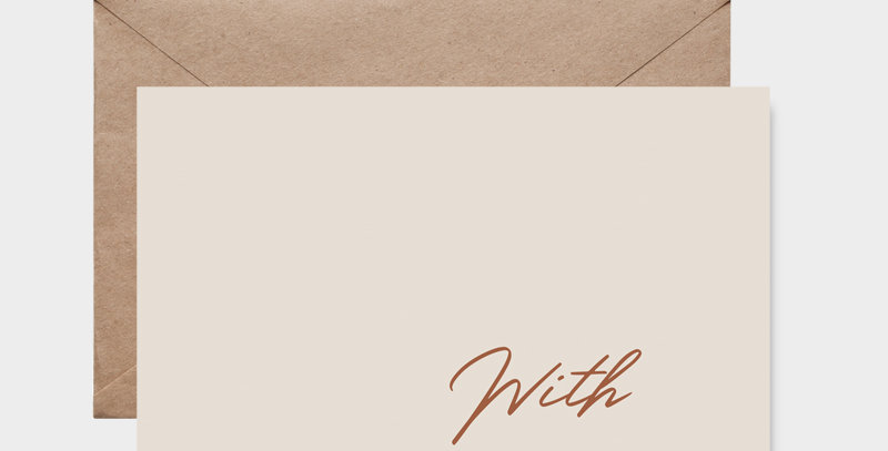 With Love - carte postale - post card - Greeting card - création design, chic élégante et minimaliste - Lyon - France